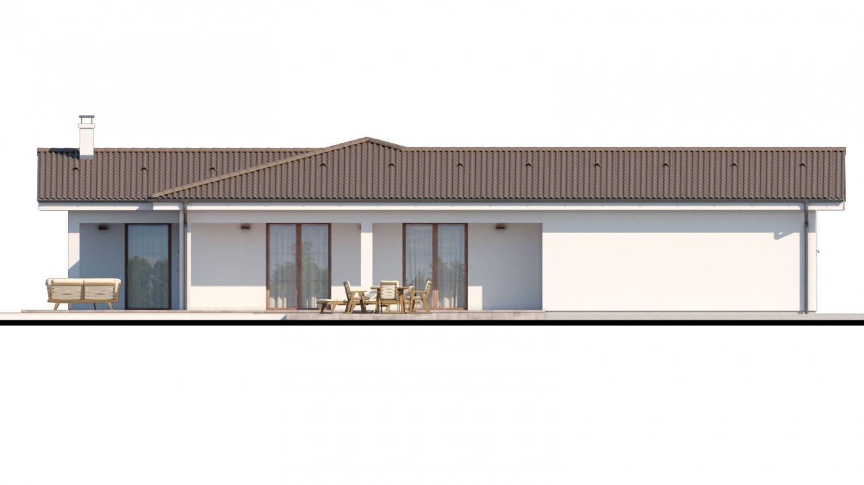 Pohľad 3. - Dom s dvojgarážou a priestrannou terasou.