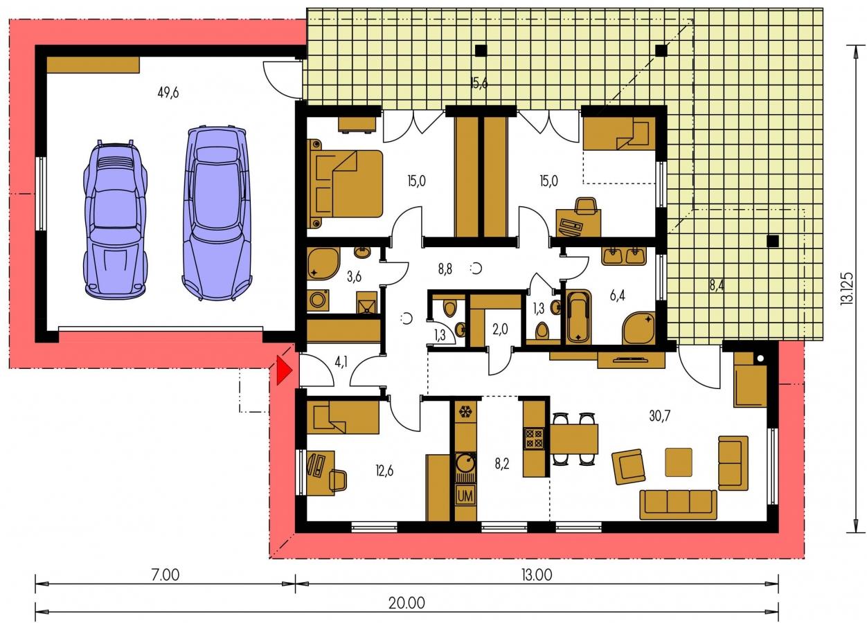 Pôdorys Prízemia - Dom s dvojgarážou a terasami