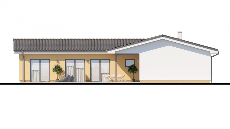 Pohľad 4. - Veľký dom do tvaru L s množstvom úložného priestoru.
