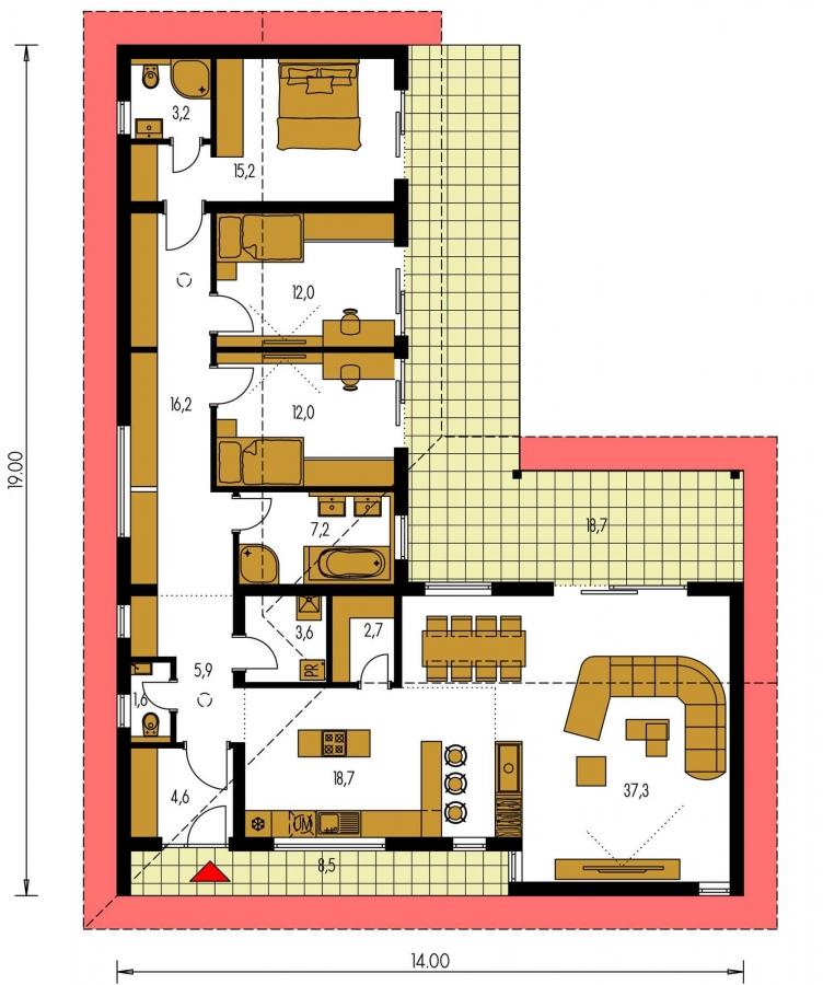 Pôdorys Prízemia - Veľký dom do tvaru L s množstvom úložného priestoru.