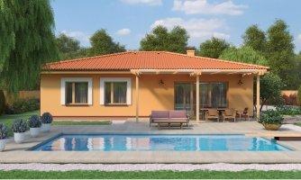 Moderný murovaný bungalov s valbovou strechou a oddelenou dennou a nočnou časťou, s možnosťou zrealizovať plochú strechu.