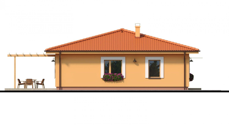 Pohľad 4. - Moderný murovaný bungalov s valbovou strechou a oddelenou dennou a nočnou časťou, s možnosťou zrealizovať plochú strechu.