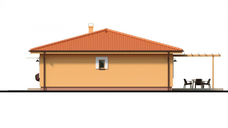 Pohľad 2. - Moderný murovaný bungalov s valbovou strechou a oddelenou dennou a nočnou časťou, s možnosťou zrealizovať plochú strechu.