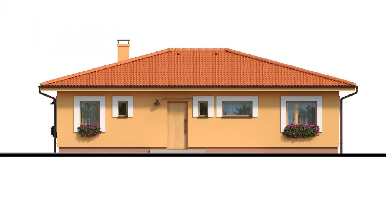 Pohľad 1. - Moderný murovaný bungalov s valbovou strechou a oddelenou dennou a nočnou časťou, s možnosťou zrealizovať plochú strechu.
