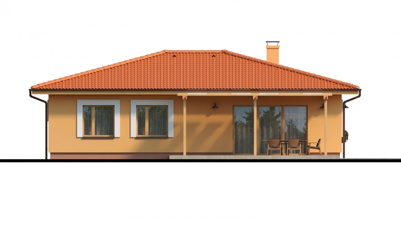 Pohľad 3. - Moderný murovaný bungalov s valbovou strechou a oddelenou dennou a nočnou časťou, s možnosťou zrealizovať plochú strechu.