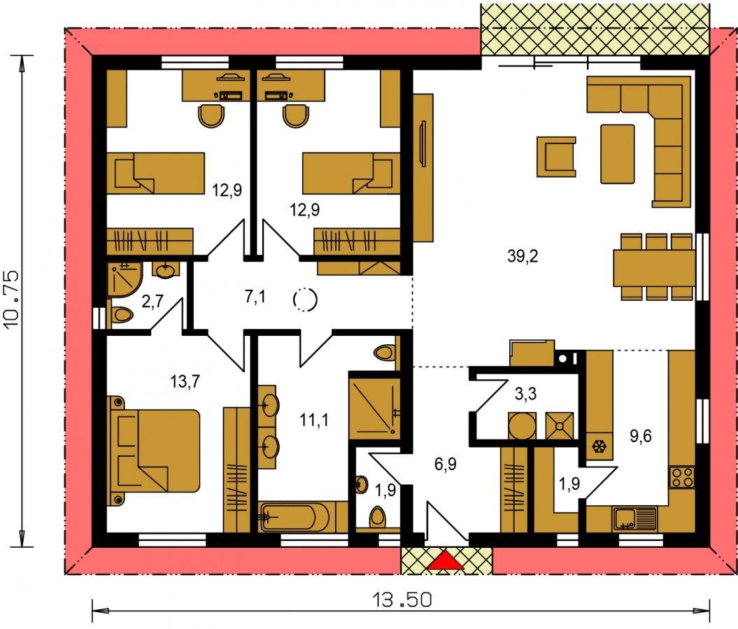 Pôdorys Prízemia - Moderný murovaný bungalov s valbovou strechou a oddelenou dennou a nočnou časťou, s možnosťou zrealizovať plochú strechu.