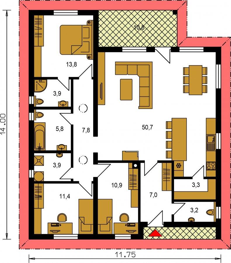 Pôdorys Prízemia - Obľúbený murovaný projekt domu do tvaru L s terasou a valbovou strechou.