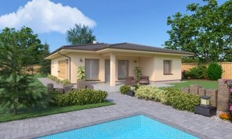 Obľúbený murovaný projekt domu do tvaru L s terasou a valbovou strechou.