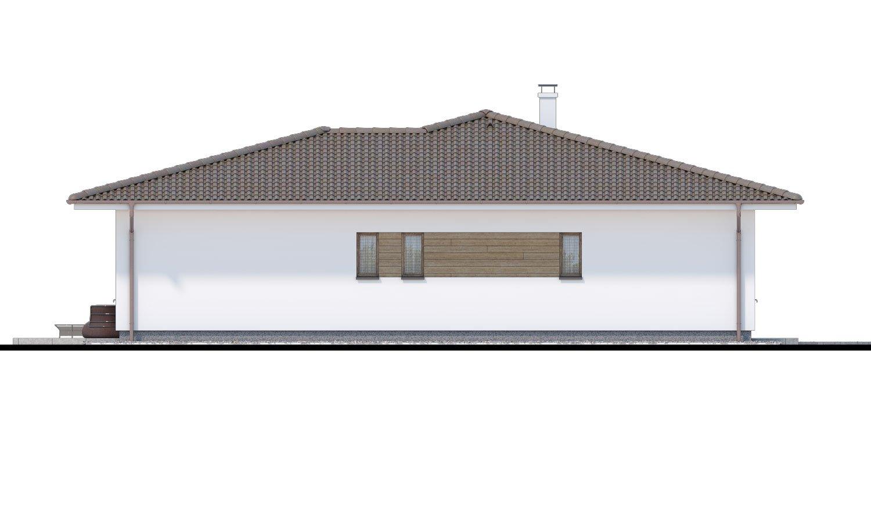 Pohľad 4. - Obľúbený murovaný projekt domu do tvaru L s terasou a valbovou strechou.