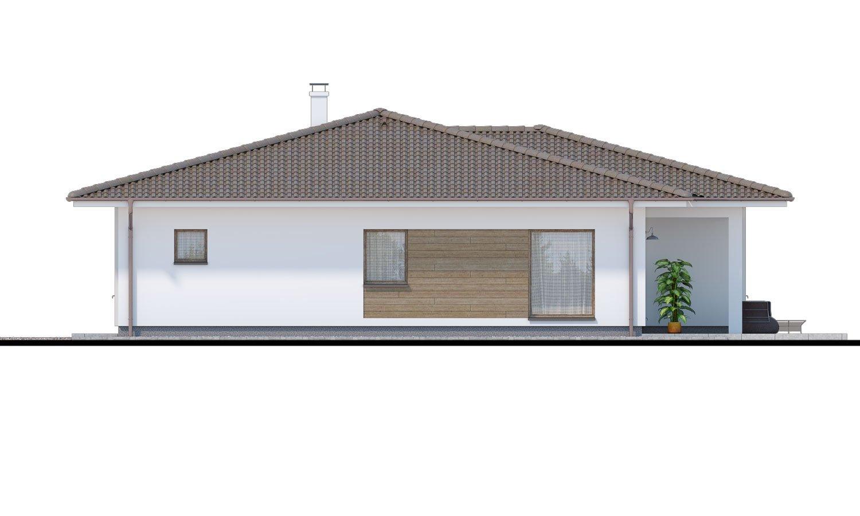 Pohľad 2. - Obľúbený murovaný projekt domu do tvaru L s terasou a valbovou strechou.