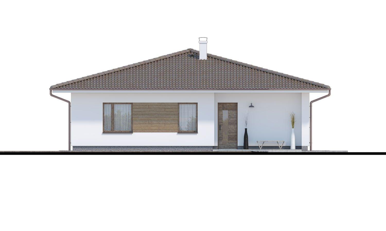 Pohľad 1. - Obľúbený murovaný projekt domu do tvaru L s terasou a valbovou strechou.