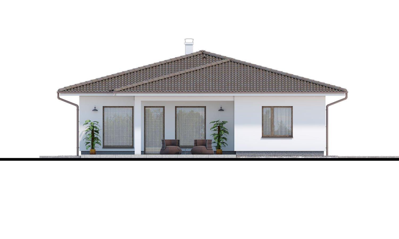 Pohľad 3. - Obľúbený murovaný projekt domu do tvaru L s terasou a valbovou strechou.