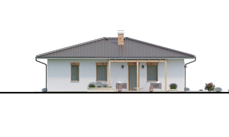 Pohľad 4. - Prízemný dom 3 - izbový bez obytných miestností z jednej strany, možnosť osadenia aj na úzky pozemok a realizovať aj s plochou strechou