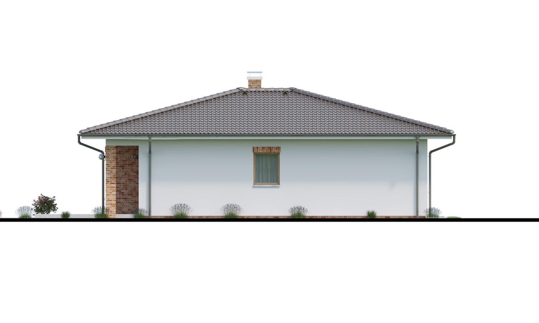 Pohľad 2. - Prízemný dom 3 - izbový bez obytných miestností z jednej strany, možnosť osadenia aj na úzky pozemok a realizovať aj s plochou strechou