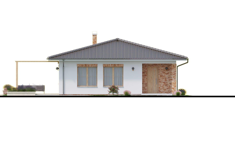 Pohľad 1. - Prízemný dom 3 - izbový bez obytných miestností z jednej strany, možnosť osadenia aj na úzky pozemok a realizovať aj s plochou strechou