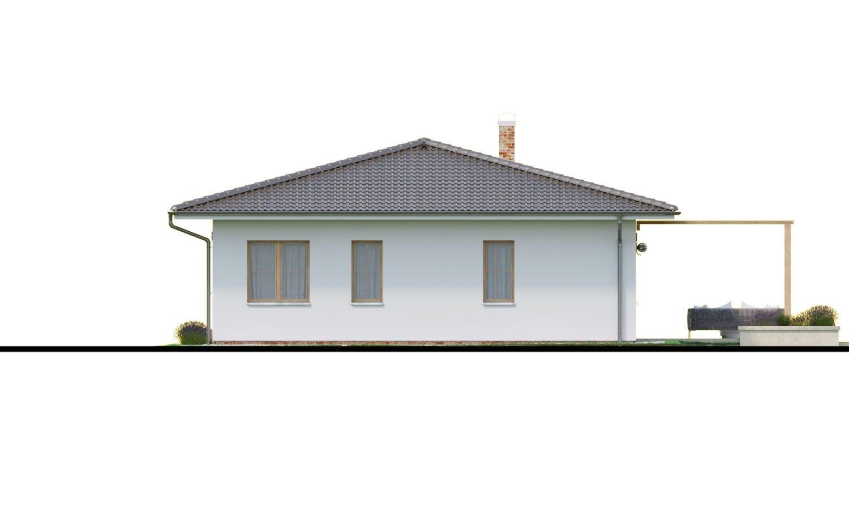 Pohľad 3. - Prízemný dom 3 - izbový bez obytných miestností z jednej strany, možnosť osadenia aj na úzky pozemok a realizovať aj s plochou strechou