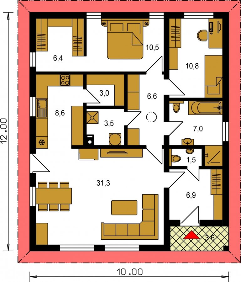 Pôdorys Prízemia - Prízemný dom 3 - izbový bez obytných miestností z jednej strany, možnosť osadenia aj na úzky pozemok a realizovať aj s plochou strechou