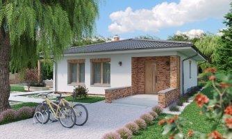 Prízemný dom 3 - izbový bez obytných miestností z jednej strany, možnosť osadenia aj na úzky pozemok a realizovať aj s plochou strechou