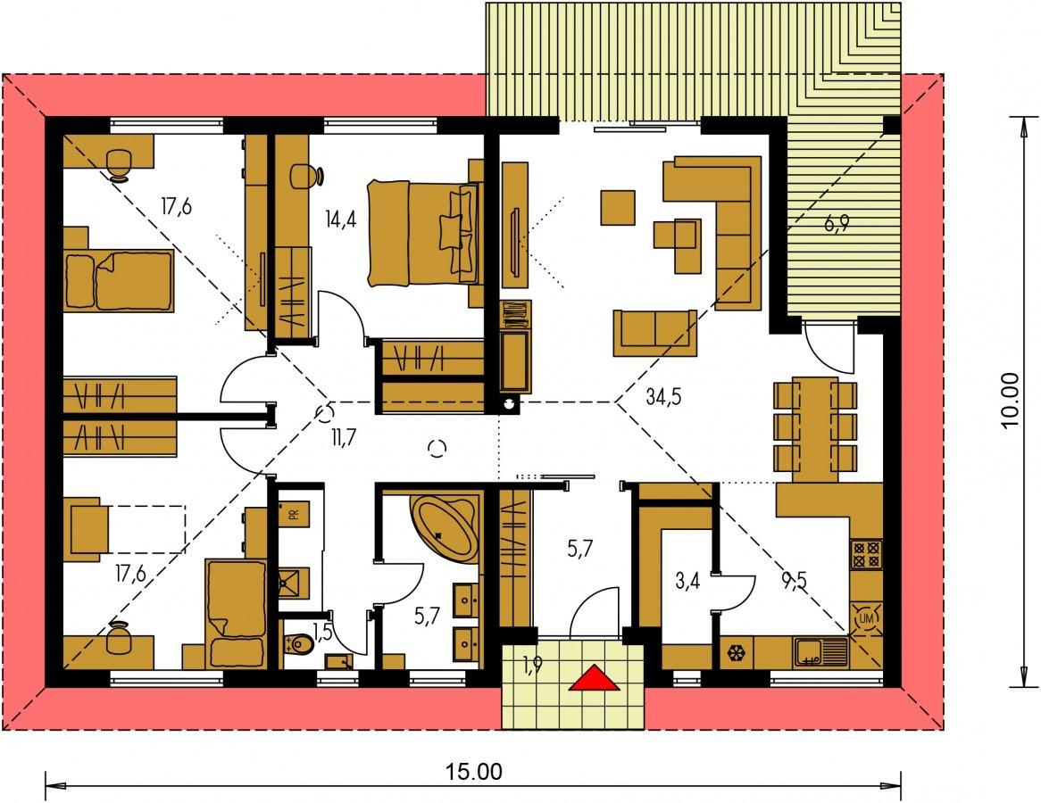 Pôdorys Prízemia - Krásny 4-izbový murovaný dom s valbovou strechou, možnosť zrealizovať plochú strechu, oddelená denná a nočná časť
