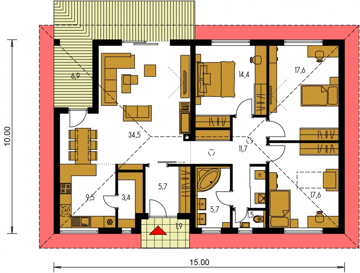 Pôdorys Prízemia - Krásny 4-izbový murovaný dom s valbovou strechou. Má oddelenú dennú a nočnú časť.