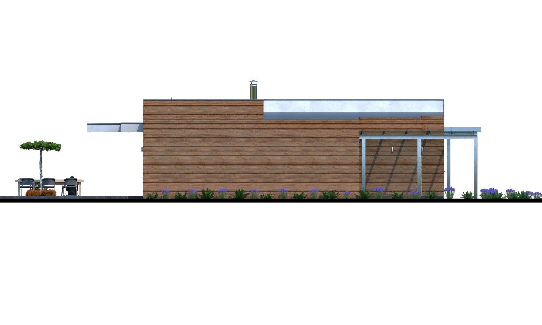 Pohľad 4. - Moderný rodinný dom s prístreškom pre auto a plochou strechou.