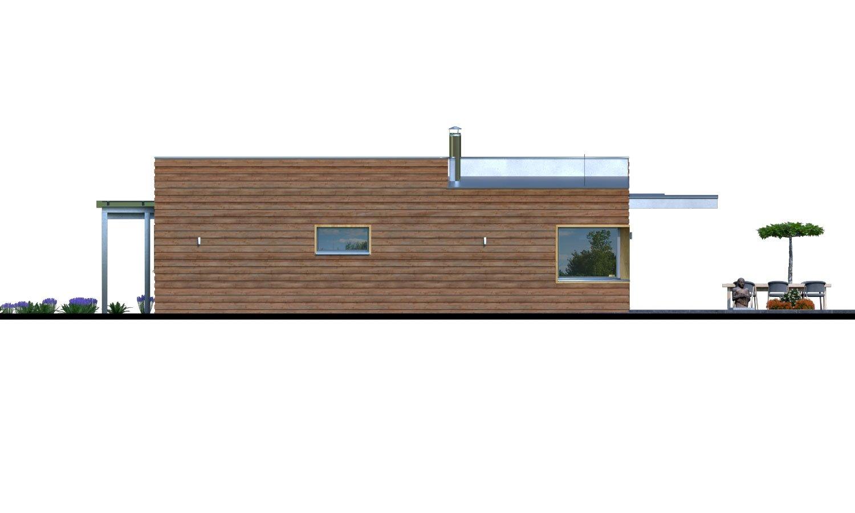Pohľad 2. - Moderný rodinný dom s prístreškom pre auto a plochou strechou.