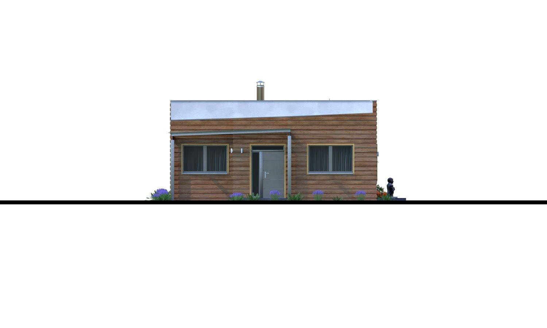 Pohľad 1. - Moderný rodinný dom s prístreškom pre auto a plochou strechou.