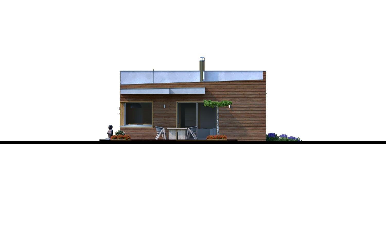 Pohľad 3. - Moderný rodinný dom s prístreškom pre auto a plochou strechou.