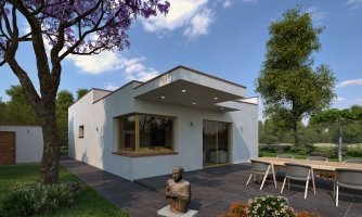 Moderný rodinný dom s prístreškom pre auto a plochou strechou.