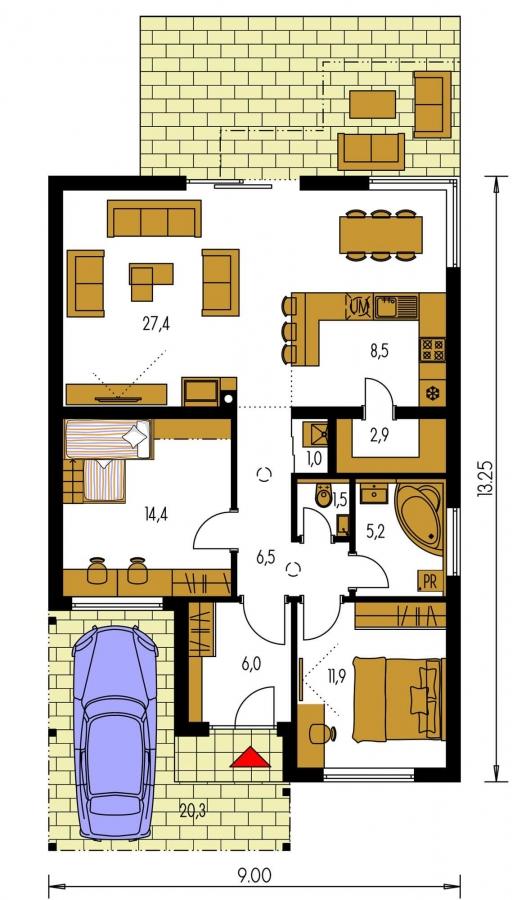 Pôdorys Prízemia - Moderný rodinný dom s prístreškom pre auto a plochou strechou.