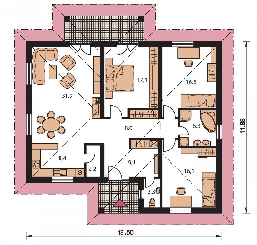 Pôdorys Prízemia - Bungalov v tvare do L s prekrytou terasou a veľkorysím vstupným priesorom. Možnosť zmeny tvaru strechy.