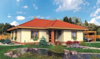 Rodinný dom v tvare do L s prekrytou terasou a veľkým vstupným priestorom. Možnosť zmeny tvaru strechy.