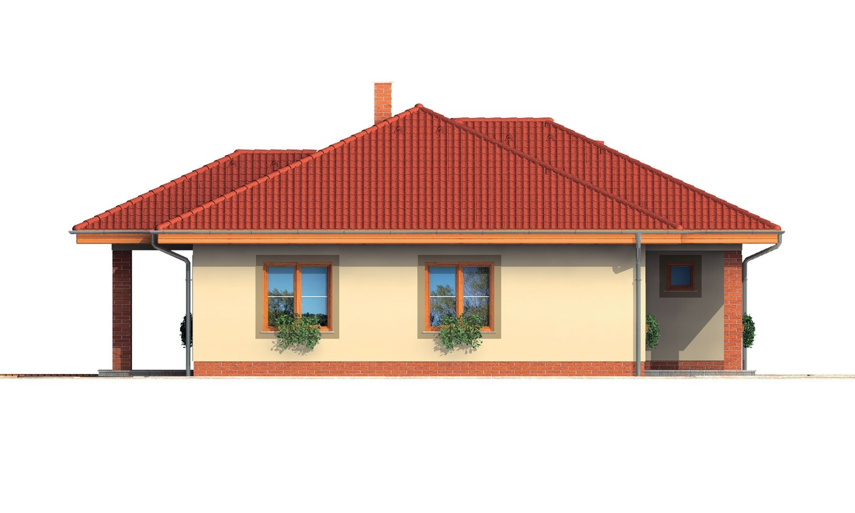 Pohľad 4. - Rodinný dom v tvare do L s prekrytou terasou a veľkým vstupným priestorom. Možnosť zmeny tvaru strechy.