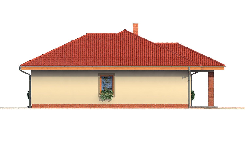 Pohľad 2. - Rodinný dom v tvare do L s prekrytou terasou a veľkým vstupným priestorom. Možnosť zmeny tvaru strechy.