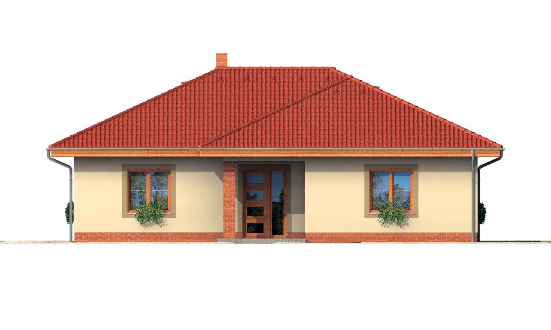 Pohľad 1. - Rodinný dom v tvare do L s prekrytou terasou a veľkým vstupným priestorom. Možnosť zmeny tvaru strechy.