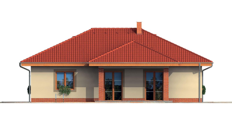Pohľad 3. - Rodinný dom v tvare do L s prekrytou terasou a veľkým vstupným priestorom. Možnosť zmeny tvaru strechy.