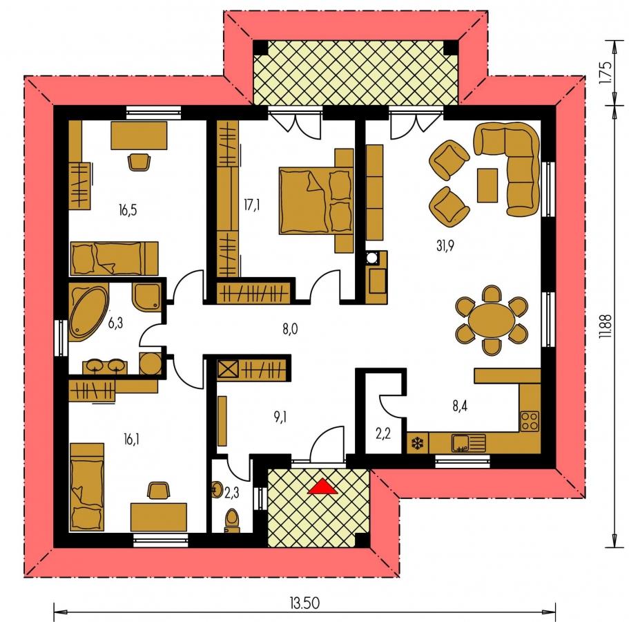 Pôdorys Prízemia - Rodinný dom v tvare do L s prekrytou terasou a veľkým vstupným priestorom. Možnosť zmeny tvaru strechy.