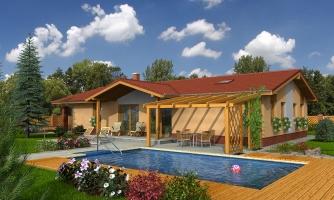 Rodinný dom na úzky pozemok s garážou, prekrytou terasou z obývacej izby, z garáže je možnosť urobiť izbu