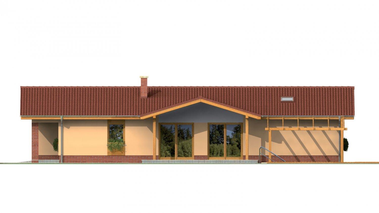 Pohľad 2. - Rodinný dom na úzky pozemok s garážou, prekrytou terasou. Z garáže je možnosť urobiť izbu.