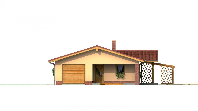 Pohľad 1. - Rodinný dom na úzky pozemok s garážou, prekrytou terasou. Z garáže je možnosť urobiť izbu.