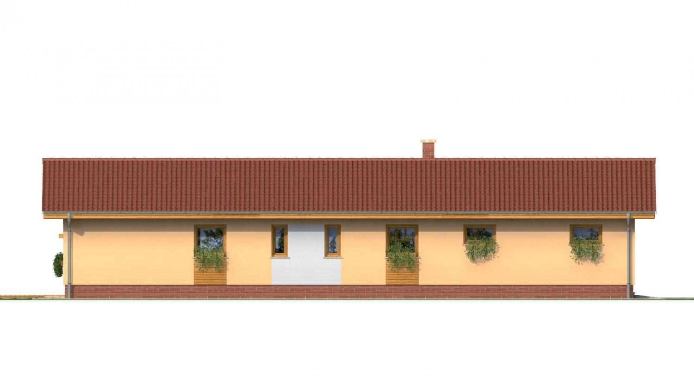Pohľad 4. - Rodinný dom na úzky pozemok s garážou, prekrytou terasou. Z garáže je možnosť urobiť izbu.