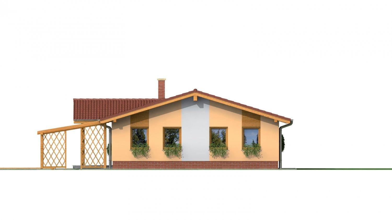 Pohľad 3. - Rodinný dom na úzky pozemok s garážou, prekrytou terasou. Z garáže je možnosť urobiť izbu.