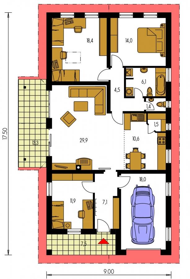 Pôdorys Prízemia - Rodinný dom na úzky pozemok s garážou, prekrytou terasou. Z garáže je možnosť urobiť izbu.