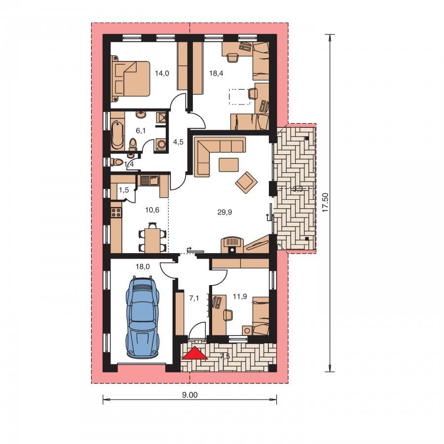 Pôdorys Prízemia - Rodinný dom na úzky pozemok s garážou
