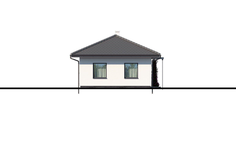 Pohľad 4. - Murovaný projekt 4-izbového domu na dlhý a úzky pozemok s bočným vstupom.