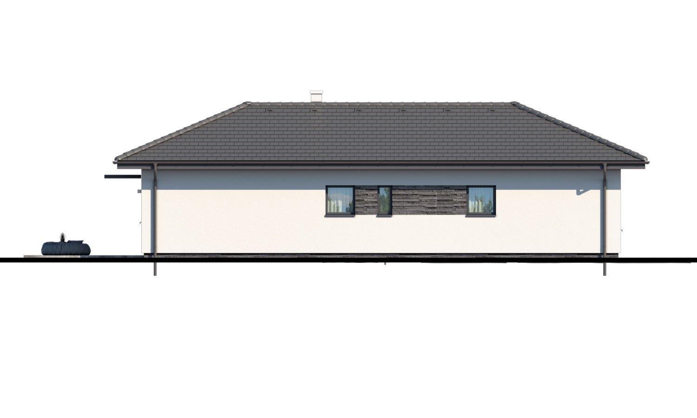Pohľad 3. - Murovaný projekt domu 4-izbový na dlhý a úzky pozemok s bočným vstupom, môže sa realizovať aj s plochou, alebo pultovou strechou