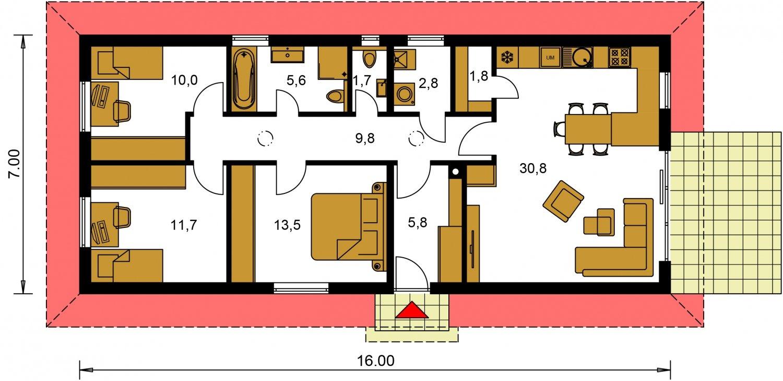 Pôdorys Prízemia - Murovaný projekt domu 4-izbový na dlhý a úzky pozemok s bočným vstupom, môže sa realizovať aj s plochou, alebo pultovou strechou