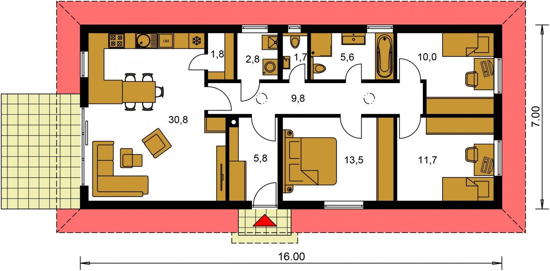 Pôdorys Prízemia - Murovaný projekt 4-izbového domu na dlhý a úzky pozemok s bočným vstupom.