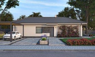Murovaný projekt domu 4-izbový na dlhý a úzky pozemok s bočným vstupom, môže sa realizovať aj s plochou, alebo pultovou strechou