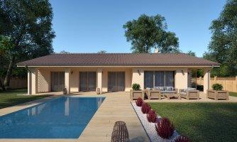 Veľký 5-izbový bungalov s dvojgarážou a terasou, prístupnou so všetkých obytných miestností, oddelená denná a nočná časť, možnosť zrealizovať plochú strechu
